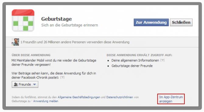Facebook Anwendungsanfrage