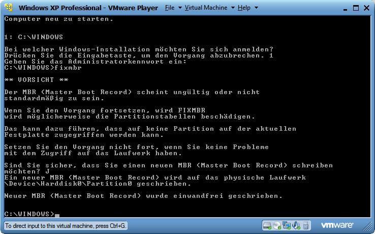 fixmbr in der Rettungskonsole von Windows