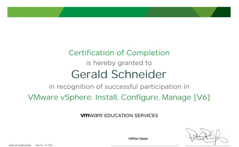 VMware vSphere: Install, Configure, Manage [V6] abgeschlossen