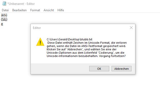 Windows Editor speichert Umlaute fehlerhaft